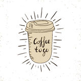 Hot Coffee Disposable to go Cup with lids and text - Coffee to go isolated on a white. Hand drawn illustration.  Stock Photos