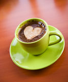 Hot coffee drink. On a table Royalty Free Stock Photography