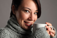 Hot coffee drink for beautiful young white woman Stock Photo