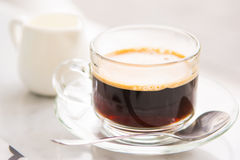 Hot coffee for drink with fresh milk Stock Image