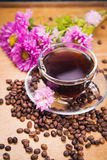 Hot coffee with flower Royalty Free Stock Photo
