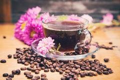 Hot coffee with flower Stock Images