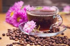 Hot coffee with flower Stock Photography