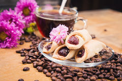 Hot coffee with flower Stock Photos