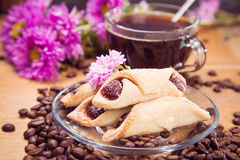 Hot coffee with flower Royalty Free Stock Image