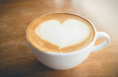 Hot coffee with foam milk Royalty Free Stock Photo