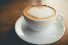 Hot coffee with foam milk Stock Images