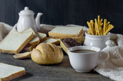 Hot coffee with fresh bread Stock Image