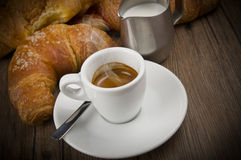 Hot coffee and fresh croissants Royalty Free Stock Image
