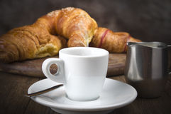 Hot coffee and fresh croissants Royalty Free Stock Photo