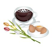 Hot Coffee with Fresh Eggs and Flower Royalty Free Stock Photos