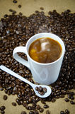 Hot coffee get ready drink. Hot coffee on the floor and coffee bean royalty free stock images