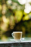 Hot coffee in glass for break with beautifull blur background Royalty Free Stock Photos