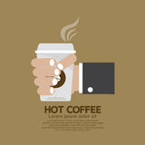 Hot Coffee In Hand Flat Design Royalty Free Stock Photography