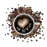Hot Coffee with Heart Shape and Love Word Royalty Free Stock Photo
