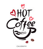 Hot coffee, ink hand lettering. Modern calligraphy. Stock Photo