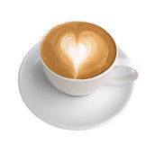 Hot coffee latte art heart shape foam isolated on white backgrou Royalty Free Stock Image