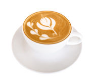Hot coffee latte art isolated on white background, clipping path Royalty Free Stock Photos