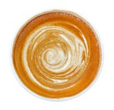 Hot coffee latte cappuccino spiral foam top view isolated on white, path stock photo