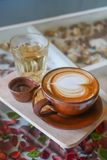 Hot coffee latte Stock Photos