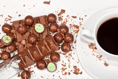 Hot coffee with lots of chocolates Stock Photography