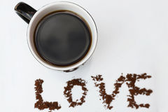 Hot coffee made with love.  Stock Photos