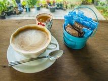 Hot coffee mocha on wood table. Stock Photo