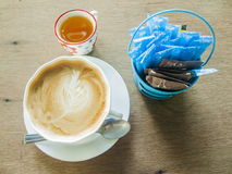 Hot coffee mocha on wood table. Royalty Free Stock Photos