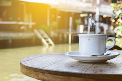 Hot coffee a morning day in amphawa, thailand Stock Photo