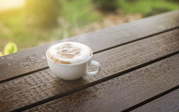 Hot coffee in the morning on wood table with blurred garden in background,selective focus,filtered image,light effect added.  royalty free stock image