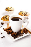 Hot coffee and muffin Stock Photo