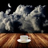 Hot coffee with night sky Royalty Free Stock Image