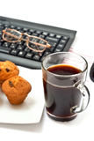 Hot coffee on office Royalty Free Stock Photos