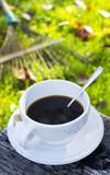 Hot coffee outdoors Stock Photography