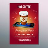 Hot coffee phone poster. Hot coffee poster for mobile application. additional file in eps 10 Stock Image