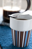 Hot coffee and plunger Stock Images
