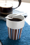 Hot coffee and plunger Royalty Free Stock Photos