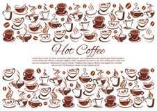 Vector coffeehouse poster of coffee cups and beans. Hot coffee poster for cafe of coffee cups, beans and tea mugs steam icons for coffeehouse or cafeteria Royalty Free Stock Image