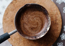 Hot coffee prepared in a Turk Stock Images