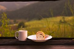 Hot coffee and raisin bread. Royalty Free Stock Photography
