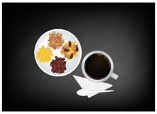 Hot Coffee and Raisins or Dried Grape on Chalkboard Royalty Free Stock Image