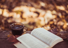 Hot coffee and red book with autumn leaves on wood background - seasonal relax concept Stock Image