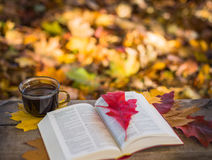 Hot coffee and red book with autumn leaves on wood background - seasonal relax concept.  Stock Images