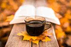Hot coffee and red book with autumn leaves on wood background - seasonal relax concept.  Stock Image