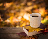 Hot coffee and red book with autumn leaves on wood background - seasonal relax concept Royalty Free Stock Image