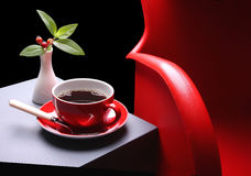 Hot coffee and red chair Stock Photography