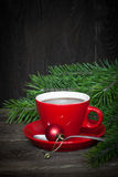 Hot coffee in a red cup Stock Image