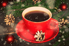 Hot coffee in a red cup Stock Photo