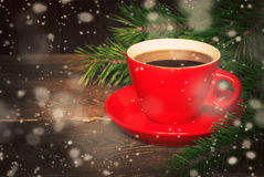 Hot coffee in a red cup Royalty Free Stock Image
