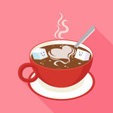 Hot coffee in red cup. Flat icon with long shadow of two cube sugar in coffee cup Royalty Free Stock Images